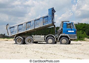 corps, fret, camions, décharge
