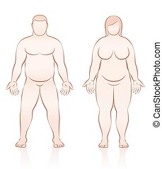 corps, gens, excès poids, graisse, femme, mâle