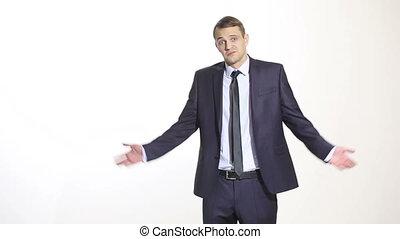 corps, haussement d'épaules, formation, managers., business, isolé, ventes, language., arrière-plan., complet, blanc, homme, geste, agents.