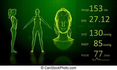 corps, indice, femme, poids, écran, bmi, graisse, simulation, informatique, conception, perdre, animation, rayon x, 3d