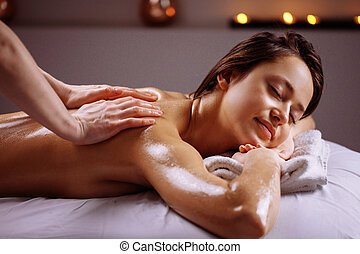 corps, masage, spa, treatment., salon, avoir, femme