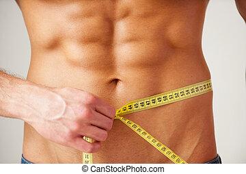 corps, mesurer, gros plan, sien, fit., garder, gris, musculaire, debout, quoique, bande, contre, fond, homme, taille