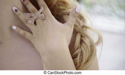 corps, mignon, femme, elle, jeune, toucher, blond