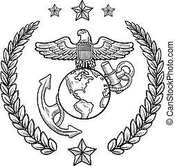 corps, nous, insigne, marin, militaire