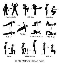 corps, séance entraînement, train, exercice, fitness