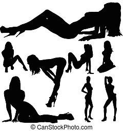 corps, sexy, girl, vecteur, silhouettes