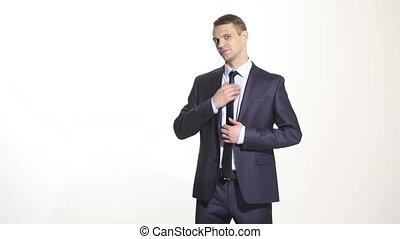 corps, sien, cravate, business, isolé, flirter, language., redresse, arrière-plan., complet, blanc, homme