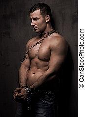 corps, sien, sur, puits, jeune, construire, modèle, mâle, chaînes