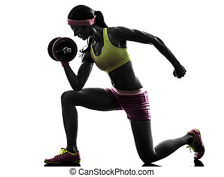 corps, silhouette, formation poids, femme, constructeur
