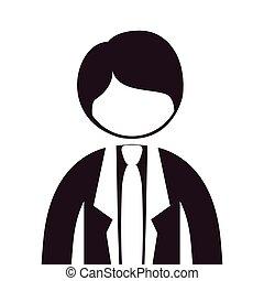 corps, silhouette, moitié, complet, cravate, homme
