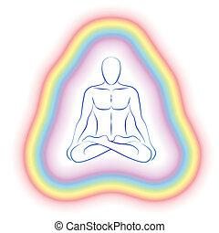 corps, subtil, méditation, aura, homme