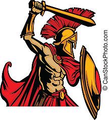 corps, trojan, s, épée, mascotte