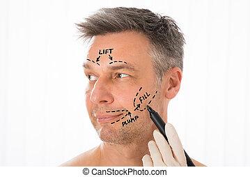 correction, lignes, figure, chirurgien, dessin, homme