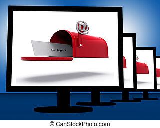 correspondance, numérique, spectacles, moniteurs, boîte lettres