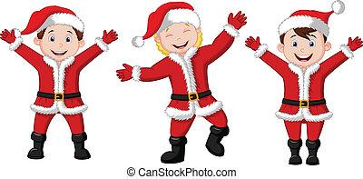 cos, heureux, santa, enfants, dessin animé