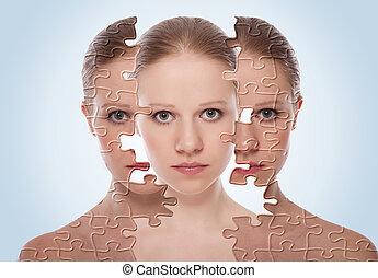cosmétique, peau, avant, care., figure, effets, traitement, femme, après, procédure, concept, jeune