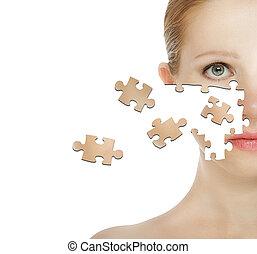 cosmétique, peau, care., puzzle, figure, concept, effets, traitement, femme, particule, jeune