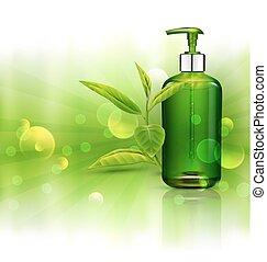 cosmétique, soleil, gabarit, business, vert, savon, gel., feuilles, shampoing, fond, promotion, réaliste, thé, pompe, vecteur, vert, éléments, souhait, fiole, transparent, bouteille, rayons, publicité, 3d, blur.