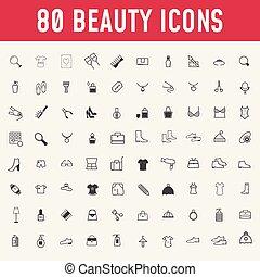 cosmetics., beauté, maquillage, ensemble, icons., 80