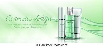 cosmetics., vert, vecteur, bannière, illustration