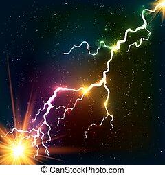 cosmique, arc-en-ciel, plasma, briller, couleurs, éclair