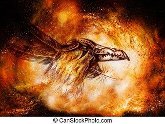 cosmique, space., décoratif, dessin, corbeau, plumes