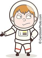cosmonaute, illustration, triste, vecteur, expression faciale, dessin animé