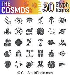 cosmos, icône, espace, ensemble, collection, isolé, paquet, symboles, solide, vecteur, arrière-plan., pictograms, signes, logo, blanc, astromomie, croquis, illustrations, glyph