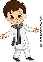 costume indien, traditionnel, heureux, garçon, dessin animé