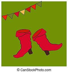 costume., saffian, chaussures, boots., national, ou, symboles, objets, carte, russe, heels., vacances, maslenitsa., rouges, shrovetide