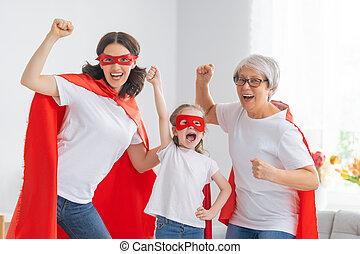 costumes, superhero, famille
