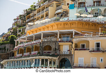 coteau, hôtel, positano, terrasses, restaurant
