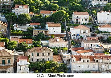 coteau, maisons, croatie, dubrovnnik