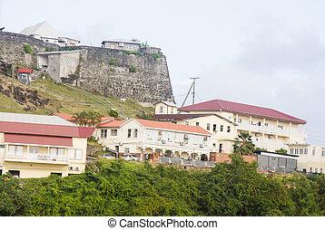 coteau, maisons, pierre, sur, fort