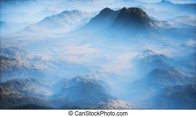 couche, vallées, gamme, montagne, mince, lointain, brouillard