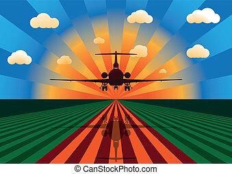 coucher soleil avion, atterrissage