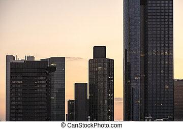 coucher soleil, bâtiments, francfort, horizon, bureau