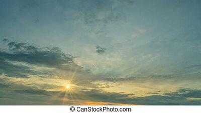 coucher soleil, beau, défaillance temps, soir
