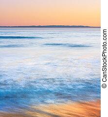 coucher soleil california, côtier