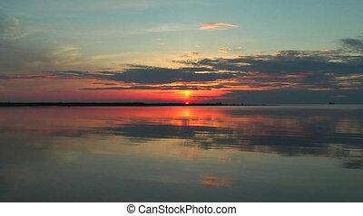 coucher soleil, calme, mer