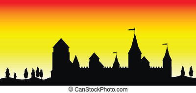 coucher soleil, château, silhouette