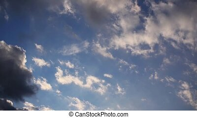 coucher soleil, chronocinématographie, nuages, beau, ciel