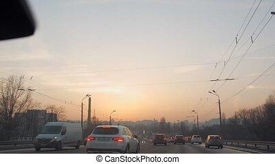 coucher soleil, cityscape