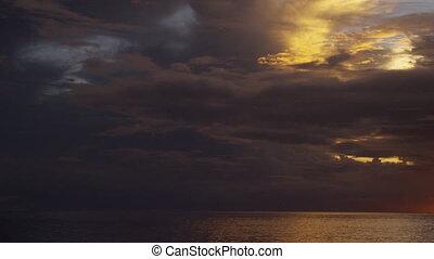 coucher soleil, coup, horizon's, océan
