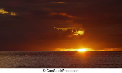 coucher soleil, coup, océan