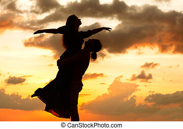 coucher soleil, couple, silhouette, amour