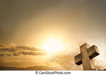 coucher soleil, croix, fond