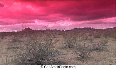 coucher soleil, désert, orage