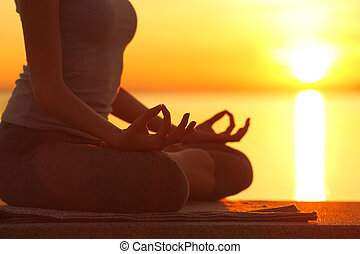 coucher soleil, femme, exercice, yoga, silhouette