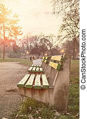 coucher soleil, garez banc